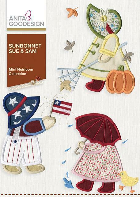Sunbonnet Sue and Sam Anita Goodesign Embroidery Machine Design CD