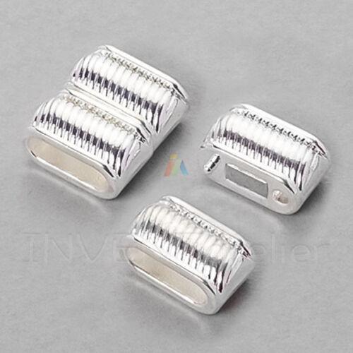 Fermoir magnétique pour plat Cordon Cuir 11.5x4mm Apprêts Bijoux Plaqué Argent