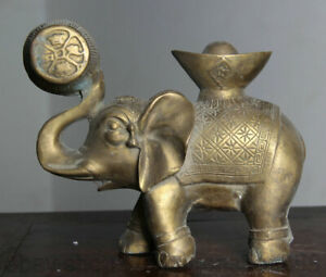 "6.6 ""Bronze chinois Feng Shui Éléphant de bon augure Sculpture animale Lucky"