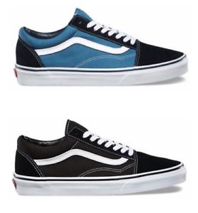 NUOVO-Vans-Old-Skool-Sneaker-classica-in-tela-camoscio-nero-o-blu-bianco-Skate-Shoes-scarpe-Da