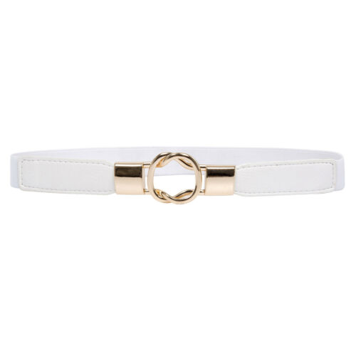 New Formal Women Ladies Girls Metal Buckle Stretchy Elastic Waist Belt Waistband