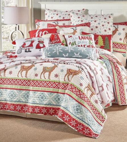 3 Piece Bedding Queen Quilt /& Shams Set Christmas Reindeer Holidays Full