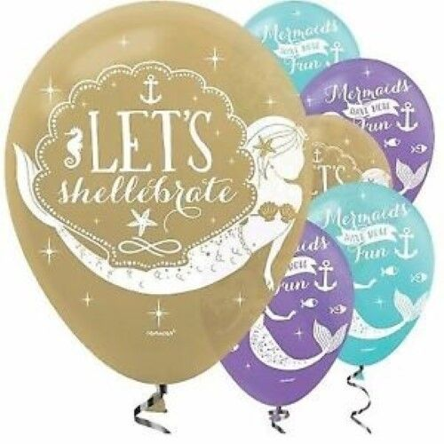 Mermaid Wishes Party Supplies Balloons Latex x 6 Helium Air