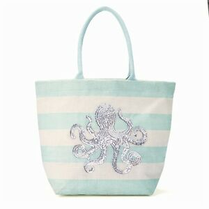 Two's Company Octopus Or Scallop Shell Sequin Jute Tote / Beach ...