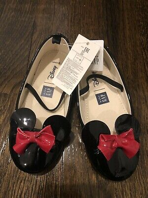 GAP Baby Girls Size 3-6 Months Black Minnie Mouse Mary Jane Ballet Flats Shoes