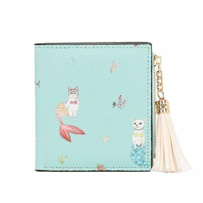 Ladies Cat Mermaid Print Short Wallet Zipper With Tassel Closure Solid Patterned