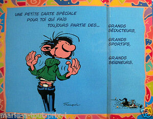 rare grande carte postale d 39 anniversaire humour de gaston lagaffe enveloppe ebay. Black Bedroom Furniture Sets. Home Design Ideas