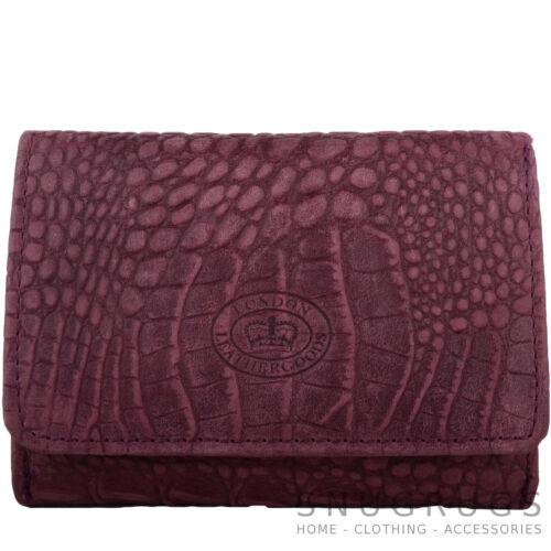 Ladies Womens Crocodile Design Tri-Fold RFID Protected Wallet Holder Purse