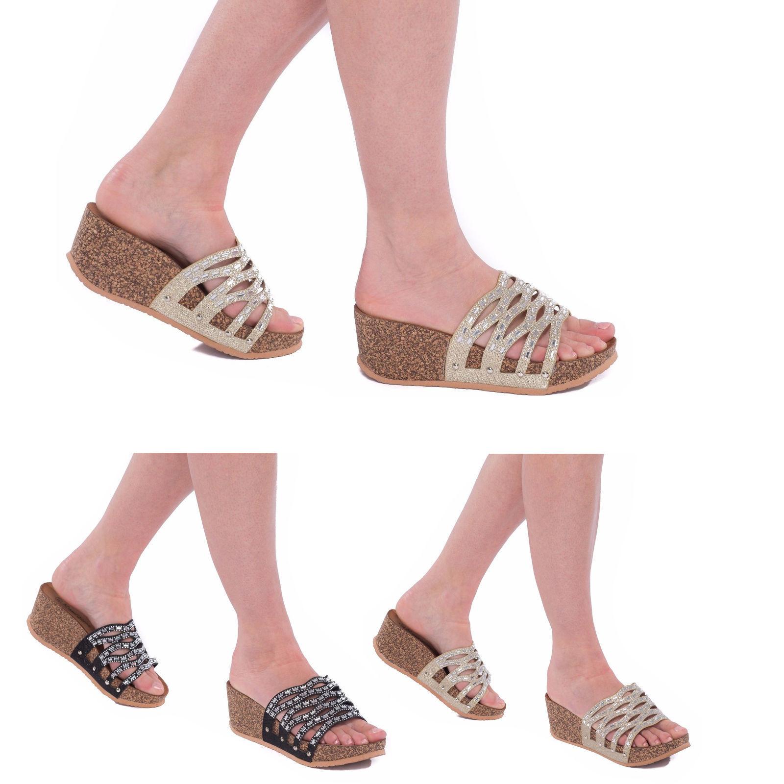 Womens Ladies Wedge On Sandal Comfort Diamante Slip On Wedge Muel Mid Low Heel Girl Shoes 56ebc1