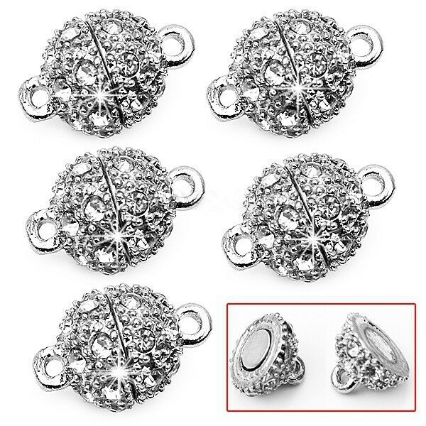 5 Pcs Round Crystal Rhinestone Strong Magnetic Clasps For Diy 9mm