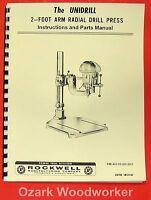 Rockwell-delta Unidrill 14-846 2' Radial Arm Drill Press Owner's Manual 0621