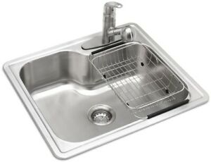 Details about Glacier Bay Kitchen Sink Drop-In 1-Bowl Basin 3-Hole Brushed  Stainless Steel