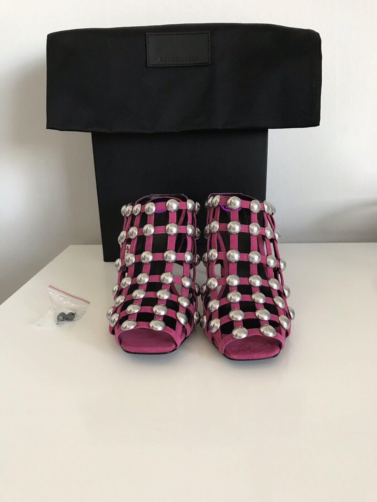 incredibili sconti NWB  650 ALEXANDER WANG SADIE FUCHSIA SUEDE rosa rosa rosa HEEL SANDALS scarpe SZ 38 1 2  promozioni di squadra