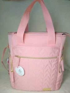 Details About New Little Me Quilted Diaper Bag Backpack Baby With Changing Pad Pink