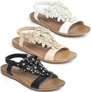 Ladies Flat Faux Leather Open Toe Elasticated Gladiator Sandal Summer Beach