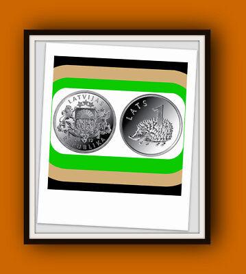 Latvia  Hedgehog Lettland 1 LATS münze 2012  Igel UNC FROM MINT ROLL PRE EIRO 2