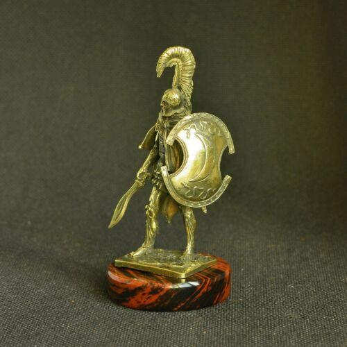 Art Bronze Ancient Greek Spartan Macedonian Warrior W// Aspis Statuette Figurine