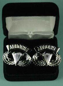 AIRBORNE-PARATROOPER-Cuff-Links-in-Presentation-Gift-Box-Army-cufflinks