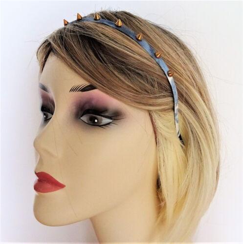Spike Stud Denim Headband Goth Punk 8 mm wide Fab Tie Dye Effect