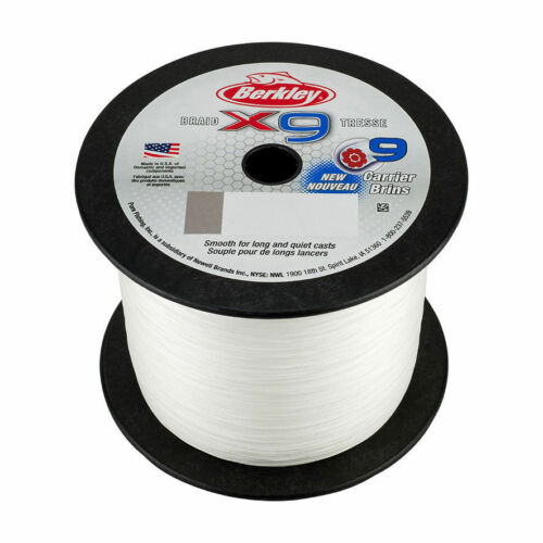 6.8kg 0.14mm NEW 2018 Berkley X9 2000m Braid Bulk Spool Crystal 15Lb