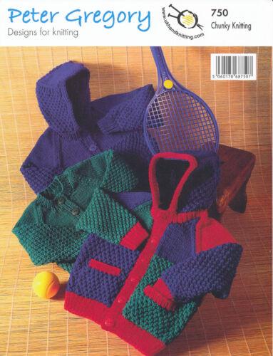 Kids Chunky Knitting Pattern Childrens Boys Crew Neck Jacket Hooded Cardigan 750