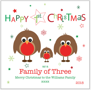 4 Personalised First 1st Christmas as a Family of 3 5 Card Any Name message