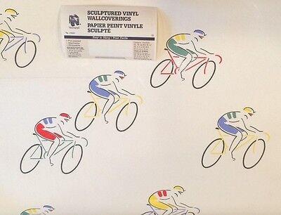 "(I711) 1DR Vintage Norwall Sculptured Bicycle Art Deco 3D Wallpaper 20.4""w 32.8'"