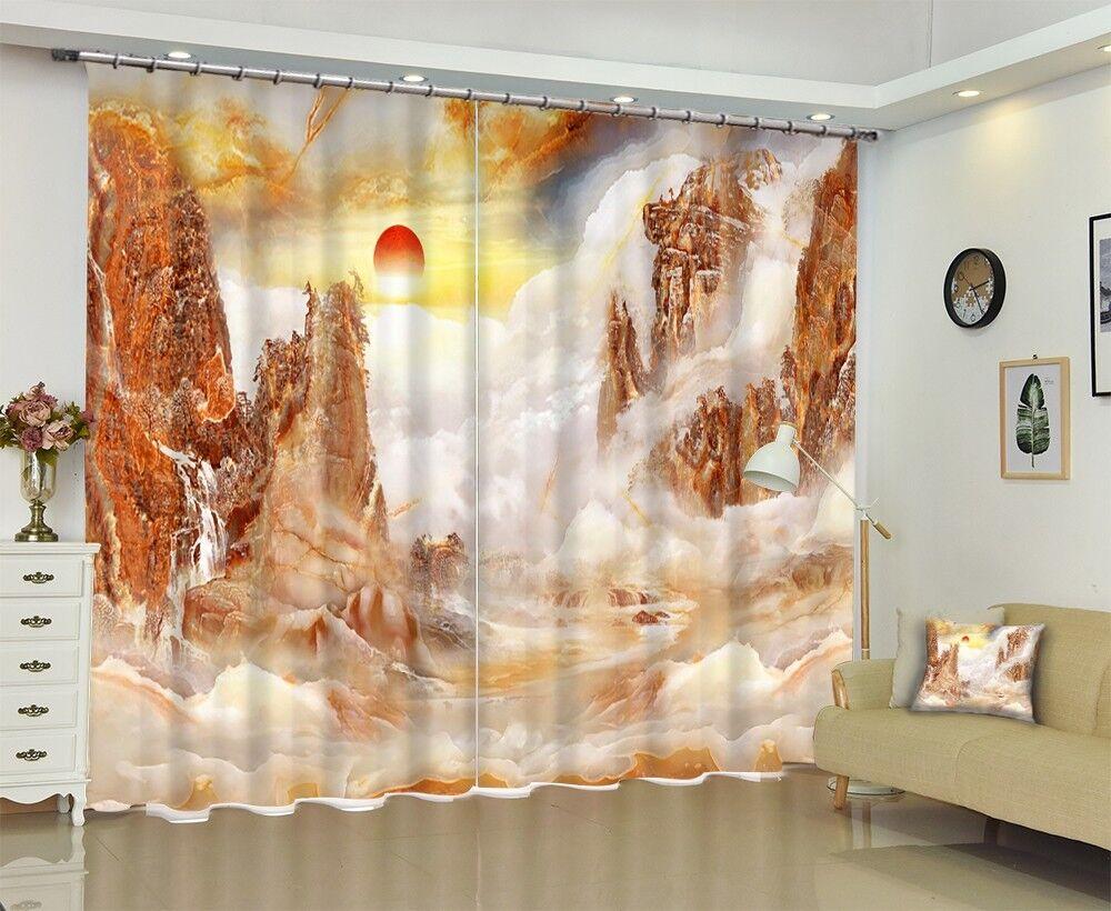 Vista de mármol 3D 5 Cortinas de impresión de Cortina Blockout Foto Tela Cortinas Ventana Reino Unido