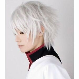 Fashion Men S Straight Short White Hair Wig Cosplay Party Anime Wigs
