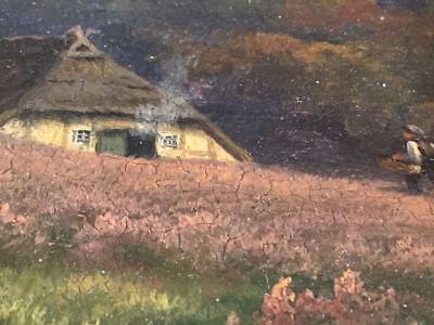 Original Ölgemälde Ca. 1890 Auf Holzplatte Restauriert Mit Eichenrahmen