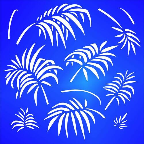 Palm Leaves Stencil Reusable Large Tropical Fronds Wall Futniture Glass Template