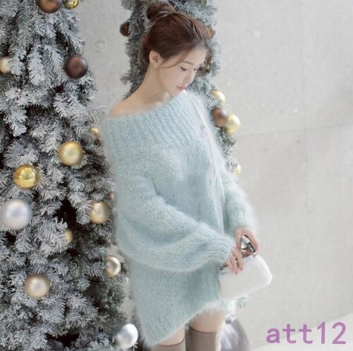 Strikvarer Warm Shoulder Mohair Off Sweater Loose Pullover Womens Chic Coat Jacket qXpxPxU