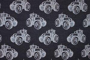 Lillestoff-Traktortortor-Rest-111-cm-Jeans-Jersey-blau-Trecker-Enemenemeins