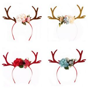 Women-Girls-Flower-Crown-Deer-Antler-Hairband-Headband-Christmas-Party-Costume