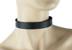 "3//4/"" Wide Plain Genuine Black Leather Choker Collar Necklace Roller Buckle"