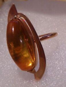 Russian-14K-583-Rose-Pink-Gold-real-Baltic-amber-rare-vintage-RING-4-grams