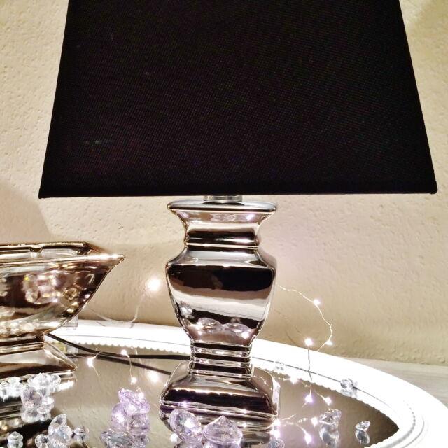 2 x 34 cm SILVER LADY Tischlampe Schwarz Silber Tischleuchte Keramiklamp