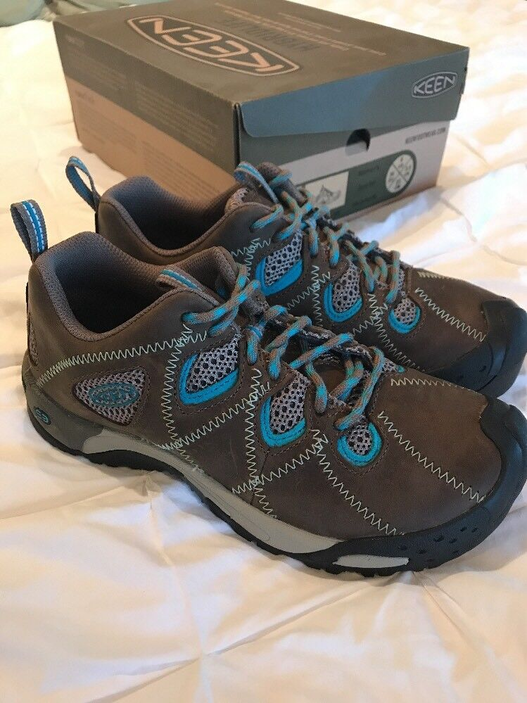 New Women's Keen Genoa Peak Leather Hiking Shoes 6 NIB Brown/Blue Trail