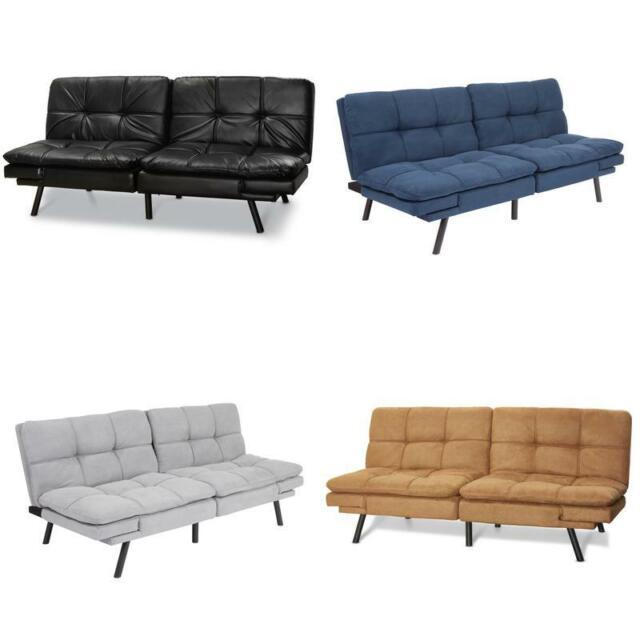 Faux Leather Futon Arm Rest Sofa Bed