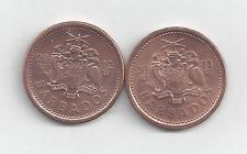 2 DIFFERENT 1 CENT COINS from BARBADOS DATING 2011 & 2012.