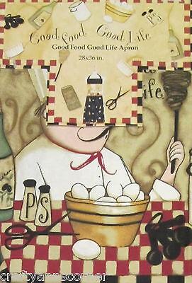 Good Food Good Life Fat Chef Dan Dipaulo Culinary Wine Eggs Whisk Hostess Apron