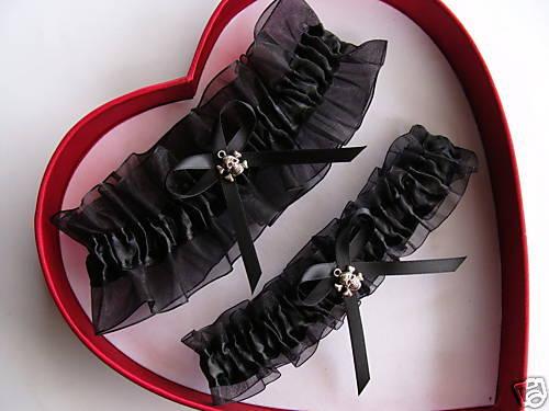 Small Skull PROM Vampire GetTheGoodStuff New Wedding Garter Set BLACK on BLACK