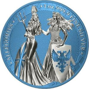 Midnight Blue 1Oz Silver Coin Germania 2019 5 Mark The Allegories i-Color Edt