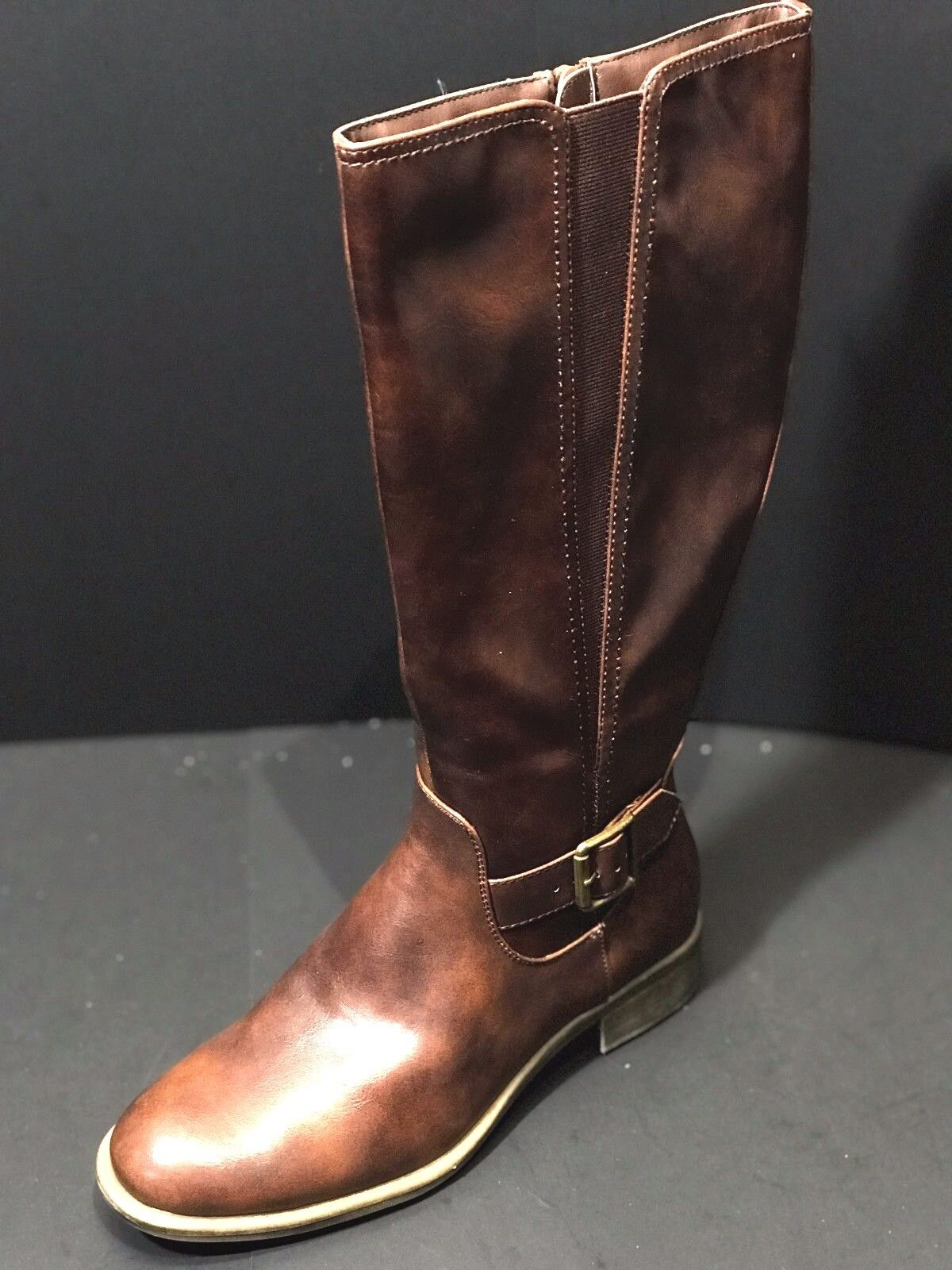 WEAR EVER WOMENS HIGH KNEE BOOT RICHIE WHISKEY BROWN MISMATCH SIZE L/7.5 R/6.5 M