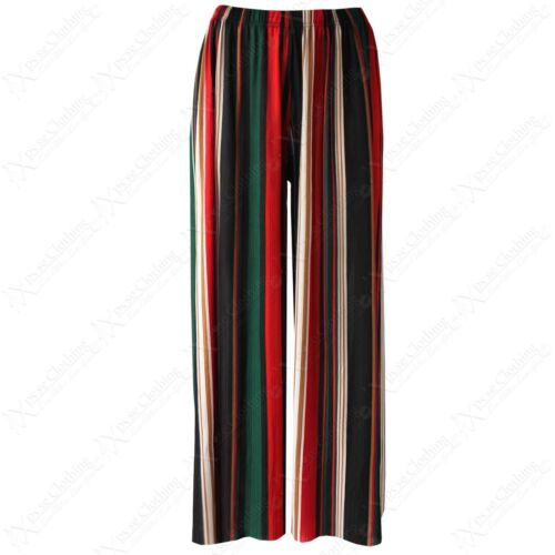 LADIES STRIPED PRINT RIBBED PALAZZO TROUSERS WOMENS LONG FLARED WIDE LEG PANTS