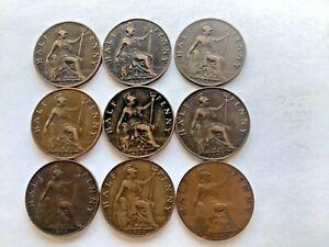 Lot de Edward VII Demi Pennies mieux grades 1902 To 1910. 9 pièces aucune marée basse