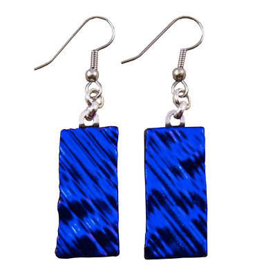 "Dichroic Glass Earrings Deep Cobalt Blue Ripple 1"" Dangle Surgical Wire or Clip"