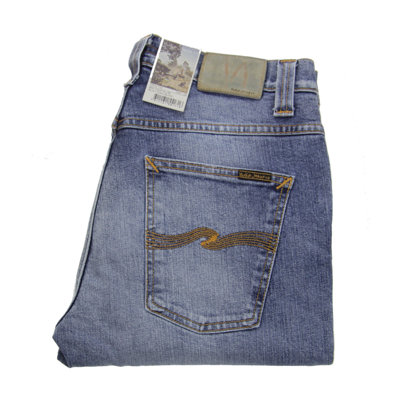 Nudie Grim  tim Jeans, Best Coast azuls, used azul, algodón, 112034, nuevo  los clientes primero