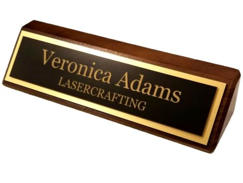 PERSONALIZE Executive Name Plate Black walnut with Laser Engraved gold plate