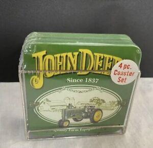 John Deere COASTERS - Box of 4 With Metal Holder